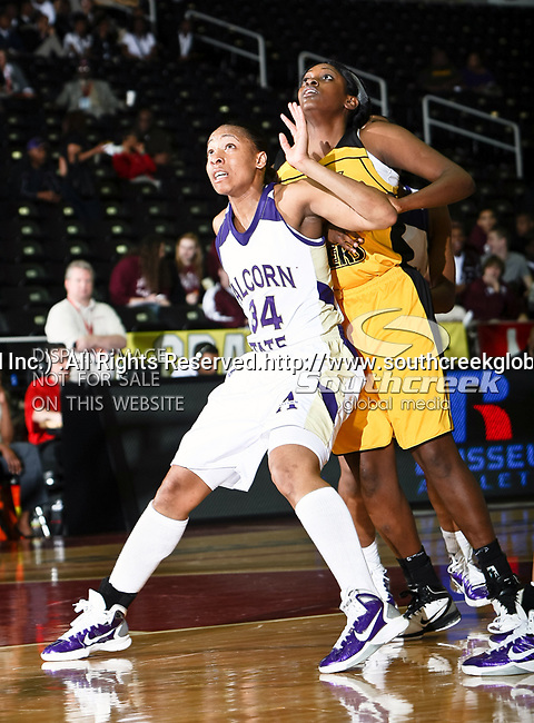 Alcorn State Lady Braves forward Sharnika Breedlove (34) in action during the SWAC Tournament game between the Alcorn State Braves and the Grambling State Tigers at the Special Events Center in Garland, Texas. Grambling State defeats Alcorn State 72 to 63.