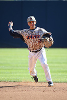 Saul Sandoval-Estrada (2) of the Pepperdine Waves throws to first base during a game against the Fresno State Bulldogs at Eddy D. Field Stadium on March 7, 2017 in Los Angeles, California. Pepperdine defeated Fresno State, 8-7. (Larry Goren/Four Seam Images)