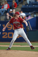 Jacob Schroeder #34 of the Washington State Cougars pitches against the Cal State Fullerton Titans at Goodwin Field on February 15, 2014 in Fullerton, California. Washington State defeated Fullerton, 9-7. (Larry Goren/Four Seam Images)