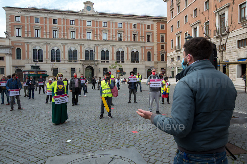 """Amedeo Ciaccheri (President of the VIII Municipality of Rome).<br /> <br /> Rome, Italy. 21st Apr, 2021. Today, Liberare Roma and NiBi (Neri Italiani - Black Italians) held a flash-mob in Piazza San Silvestro (1.) to call the Italian Government led by Mario Draghi (Government supported by all the Italian Parties except the right wing Party Fratelli d'Italia) 2.) to finally make the long awaited reform of the citizenship law which will give the Italian Citizenship to the children who are born and grown up in Italy once called """"Ius Soli"""" or """"Ius Culturae"""" Law. <br /> «I was born here in Italy, I grew up here, I live here, I study here, I love here, I live and plan my future here. However, I do not have the same rights of all the other Italians» (1.).<br /> <br /> Footnotes and Links:<br /> 1. http://bit.do/fQy7U <br /> 2. http://bit.do/fQy9F  <br /> Previous Demos: <br /> - First Conte's Government (Centre-Right) http://bit.do/fi83r <br /> - Second Conte's Government (Centre-Left) http://bit.do/fJ2pc<br /> - Second Conte's Government (Centre-Left) http://bit.do/fQy9F"""