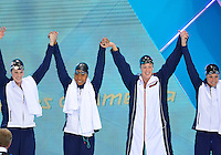 July 28, 2012: L to R: Missy Franklin, Lia Neal, Allison Shcmitt and Jessica Hardy of the United States arrive to compete in Women's 4x100 meter freestyle relay final at the Aquatics Center on day one of 2012 Olympic Games in London, United Kingdom.