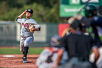 4 September 2017: Tri-City ValleyCats pitcher Leovanny Rodriguez on the mound during the second game of a double-header against the Vermont Lake Monsters at Centennial Field in Burlington, Vermont. The ValleyCats split their games, winning 6-5 in the first, then dropping the second 7-4 in NY Penn League action. Mandatory Credit: Ed Wolfstein Photo *** RAW (NEF) Image File Available ***