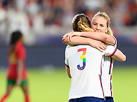 HOUSTON, TX - JUNE 10: Samantha Mewis #3 of the United States celebrates her goal in the second half with Lindsey Horan #9 during a game between Portugal and USWNT at BBVA Stadium on June 10, 2021 in Houston, Texas.