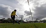 Keswick 1 Kendal 1, 15/04/2017. Fitz Park, Westmoreland League. The Kendal no. 10 takes a corner. Photo by Paul Thompson.