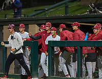 STANFORD, CA - JUNE 7: Team celebration during a game between UC Irvine and Stanford Baseball at Sunken Diamond on June 7, 2021 in Stanford, California.