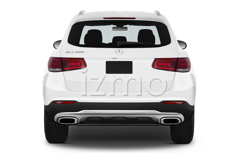 Straight rear view of a 2020 Mercedes Benz GLC-Class GLC300 5 Door SUV stock images