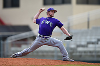 Kentucky Wesleyan Panthers pitcher Justin Kittel (38) during a game against Slippery Rock University on March 9, 2015 at Jack Russell Stadium in Clearwater, Florida.  Kentucky Wesleyan defeated Slippery Rock 5-4.  (Mike Janes/Four Seam Images)