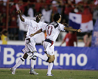 USA's DeMarcus Beasely and Landon Donovan celebrate Donovan's goal against Panama in the first half in Panama City, Panama, Wednesday, June 8, 2005. USA won 3-0.