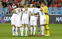 TORONTO, ON - OCTOBER 15: The USMNT huddle up during a game between Canada and USMNT at BMO Field on October 15, 2019 in Toronto, Canada.