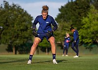 KASHIMA, JAPAN - AUGUST 1: Alyssa Naeher #1 of the USWNT looks to the ball during a training session at the practice field on August 1, 2021 in Kashima, Japan.