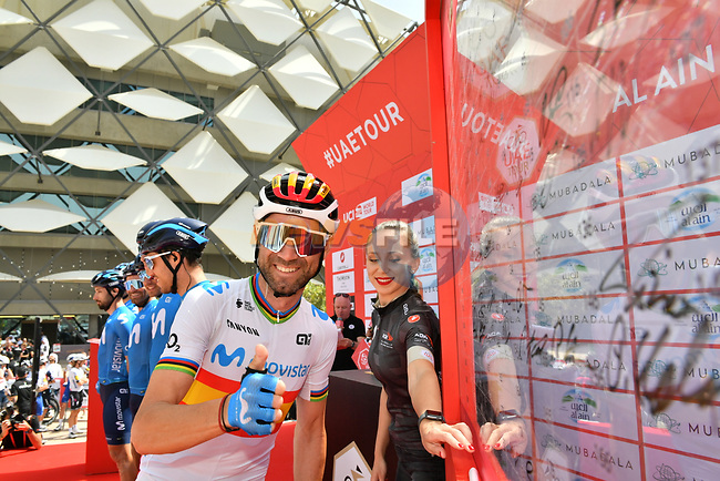 Spanish Champion Alejandro Valverde (ESP) Movistar Team at sign on before Stage 5 the Al Ain Water Stage of the UAE Tour 2020 running 162km from Al Ain to Jebel Hafeet, Dubai. 27th February 2020.<br /> Picture: LaPresse/Massimo Paolone | Cyclefile<br /> <br /> All photos usage must carry mandatory copyright credit (© Cyclefile | LaPresse/Massimo Paolone)