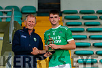 Paudie Dineen presents Man of the match Kevin Goulding, Ballyduff, after the Kerry County Minor Hurling Championship Final match between Ballyduff and Ballyheigue at Austin Stack Park in Tralee, Kerry.