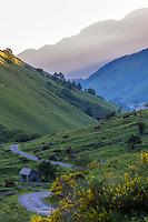 France, Pyrénées-Atlantiques (64), Béarn, Accous, vallée d'Aspe, Plateau de Lhers vers la  Vallée d'Aspe //  France, Pyrenees Atlantiques ,Bearn, Aspe Valley, Accous: The plateau of Lhers
