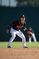 Modesto Nuts shortstop Bryson Brigman (8) during a California League game against the San Jose Giants at John Thurman Field on May 9, 2018 in Modesto, California. San Jose defeated Modesto 9-5. (Zachary Lucy/Four Seam Images)