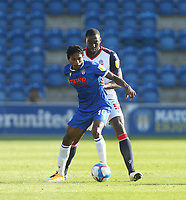Colchester United's Jevani Brown and Bolton Wanderers' Richardo Almedia-Santos<br /> <br /> Photographer Rob Newell/CameraSport<br /> <br /> The EFL Sky Bet League Two - Colchester United v Bolton Wanderers - Saturday 19th September 2020 - Colchester Community Stadium - Colchester<br /> <br /> World Copyright © 2020 CameraSport. All rights reserved. 43 Linden Ave. Countesthorpe. Leicester. England. LE8 5PG - Tel: +44 (0) 116 277 4147 - admin@camerasport.com - www.camerasport.com