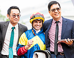 Trainer Jimmy Ting Koon-ho (L) and Jockey Umberto Rispoli (C) rode #12 Smiling Pride pose for photo after winning Race 5 Suisse Programme Handicap during Hong Kong Racing at Sha Tin Racecourse on November 04, 2018 in Hong Kong, Hong Kong. Photo by Yu Chun Christopher Wong / Power Sport Images