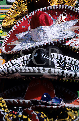 Mexico City. Display of typical decorated Mexican sombrero souvenir hats.