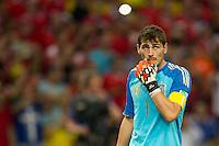 Goalkeeper Iker Casillas of Spain looks dejected