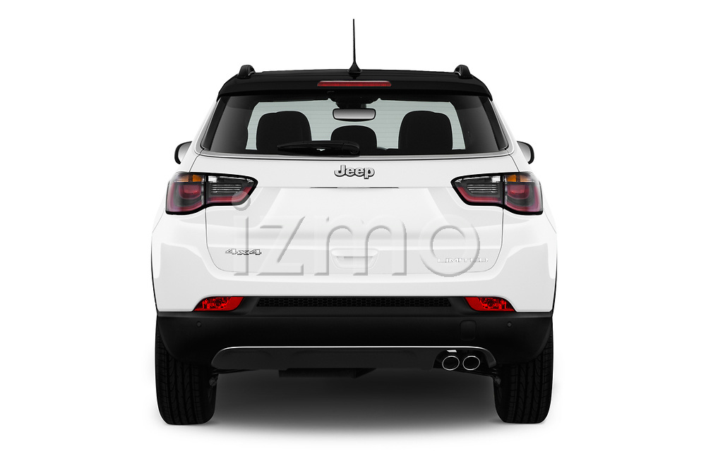 Straight rear view of a 2018 Jeep Compass Limited 4WD 5 Door SUV stock images