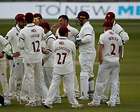 15th April 2021; Emirates Old Trafford, Manchester, Lancashire, England; English County Cricket, Lancashire versus Northants; Northamptonshire celebrate after Simon Kerrigan has Rob Jones stumped for 13 to take his second wicket of the innings