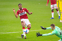 3rd October 2020; Riverside Stadium, Middlesbrough, Cleveland, England; English Football League Championship Football, Middlesbrough versus Barnsley; Chuba Akpom of Middlesbrough FC  shoots wide of the goal of Bradley Collins of Barnsley FC