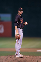 Modesto Nuts relief pitcher Anthony McIver (33) during a California League game against the San Jose Giants at San Jose Municipal Stadium on May 15, 2018 in San Jose, California. Modesto defeated San Jose 7-5. (Zachary Lucy/Four Seam Images)