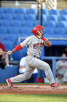 Clearwater Threshers second baseman Drew Stankiewicz (15) at bat during a game against the Dunedin Blue Jays on April 10, 2015 at Florida Auto Exchange Stadium in Dunedin, Florida.  Clearwater defeated Dunedin 2-0.  (Mike Janes/Four Seam Images)