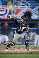West Virginia Black Bears catcher Deon Stafford (57) throws down to first in between innings during a game against the Batavia Muckdogs on June 26, 2017 at Dwyer Stadium in Batavia, New York.  Batavia defeated West Virginia 1-0 in ten innings.  (Mike Janes/Four Seam Images)