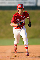 Robert Stock #35 of the Johnson City Cardinals takes off for third base at Howard Johnson Stadium June 27, 2009 in Johnson City, Tennessee. (Photo by Brian Westerholt / Four Seam Images)