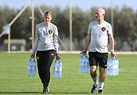 20190226 - LARNACA , CYPRUS :  Belgian team manager Rudy Vanderelst (r) pictured with Saar Nevejans during a Matchday -1 training from The Belgian Red Flames prior to their game against the women team of Slovakia , on Tuesday 26 February 2019 at the Alpha Sports Grounds in Larnaca , Cyprus . This will be the first game in group C for Belgium during the Cyprus Womens Cup 2019 , a prestigious women soccer tournament as a preparation on the European Championship 2021 qualification duels. PHOTO SPORTPIX.BE   DAVID CATRY