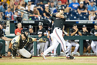 Louisville Cardinals pinch hitter Zach Britton (34) follows through on his swing during Game 12 of the NCAA College World Series against the Vanderbilt Commodores on June 21, 2019 at TD Ameritrade Park in Omaha, Nebraska. Vanderbilt defeated Louisville 3-2. (Andrew Woolley/Four Seam Images)