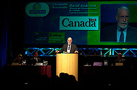 Montreal, March 28 2001<br /> Canada Environment Minister, the Honorable David Anderson adress the audience on the opening plenary session of Americana 2001, March 28th 2001 in Montreal, CANADA.<br /> Americana is one of the biggest trade show and convention on environment and waste management<br /> <br /> Photo :   Pierre Roussel / AGENCE QUEBEC PRESSE