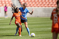 SANDY, UT - JULY 26: Nichelle Prince #8 of Houston Dash plays the ball against Kayla Sharples #28 of Chicago Red Stars during a game between Chicago Red Stars and Houston Dash during the NWSL Challenge Cup Championship held at Rio Tinto Stadium on July 26, 2020 in Sandy, Utah.