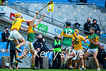 Joe Maskey, Antrim in action against Michael O'Leary, Kerry during the Joe McDonagh Cup Final match between Kerry and Antrim at Croke Park in Dublin.