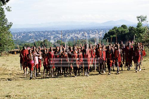 Lolgorian, Kenya. Siria Maasai Manyatta; a group of young moran, red ochre coloured short hair, shell and bead decorations.