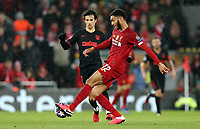 Liverpool's Joe Gomez clears under pressure from Atletico Madrid's Joao Felix<br /> <br /> Photographer Rich Linley/CameraSport<br /> <br /> UEFA Champions League Round of 16 Second Leg - Liverpool v Atletico Madrid - Wednesday 11th March 2020 - Anfield - Liverpool<br />  <br /> World Copyright © 2020 CameraSport. All rights reserved. 43 Linden Ave. Countesthorpe. Leicester. England. LE8 5PG - Tel: +44 (0) 116 277 4147 - admin@camerasport.com - www.camerasport.com