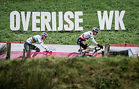 World Cup Leader Wout van Aert (BEL/Jumbo-Visma) & his ever nemesis CX world champion Mathieu Van der Poel (NED/Alpecin-Fenix) early on in the race<br /> <br /> 2021 UCI CX World Cup Overijse (BEL)<br /> Vlaamse Druivencross<br /> <br /> Men's Race<br /> <br /> ©kramon