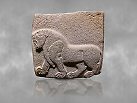 Aslantepe Hittite relief sculpted orthostat stone panel. Limestone, Aslantepe, Malatya, 1200-700 B.C. . Anatolian Civilisations Museum, Ankara, Turkey<br /> Depiction of a horse walking <br /> <br /> Against a grey art background.