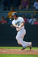 Clinton LumberKings third baseman Joseph DeCarlo (5) at bat during a game against the Great Lakes Loons on August 16, 2015 at Ashford University Field in Clinton, Iowa.  Great Lakes defeated Clinton 3-2.  (Mike Janes/Four Seam Images)