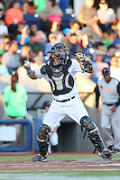Jose Queliz (30) of the Hillsboro Hops makes a throw during a game against the Salem-Keizer Volcanoes at Ron Tonkin Field on July 27, 2015 in Hillsboro, Oregon. Hillsboro defeated Salem-Keizer, 9-2. (Larry Goren/Four Seam Images)