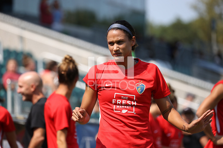 CARY, NC - SEPTEMBER 12: Lynn Williams #9 of the North Carolina Courage warms up before a game between Portland Thorns FC and North Carolina Courage at Sahlen's Stadium at WakeMed Soccer Park on September 12, 2021 in Cary, North Carolina.