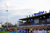 20130216 Copyright onEdition 2013©.Free for editorial use image, please credit: onEdition..General view of the West Stand during the Premiership Rugby match between Saracens and Exeter Chiefs at Allianz Park on Saturday 16th February 2013 (Photo by Rob Munro)..For press contacts contact: Sam Feasey at brandRapport on M: +44 (0)7717 757114 E: SFeasey@brand-rapport.com..If you require a higher resolution image or you have any other onEdition photographic enquiries, please contact onEdition on 0845 900 2 900 or email info@onEdition.com.This image is copyright onEdition 2013©..This image has been supplied by onEdition and must be credited onEdition. The author is asserting his full Moral rights in relation to the publication of this image. Rights for onward transmission of any image or file is not granted or implied. Changing or deleting Copyright information is illegal as specified in the Copyright, Design and Patents Act 1988. If you are in any way unsure of your right to publish this image please contact onEdition on 0845 900 2 900 or email info@onEdition.com