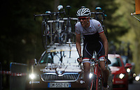 Laurent Didier (LUX/Trek Factory Racing) struggles himself up the Côte de Stockeu (2300m/9.9%)<br /> <br /> 101th Liège-Bastogne-Liège 2015