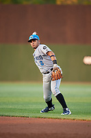 Hudson Valley Renegades second baseman Jonathan Aranda (2) throws to first base during a game against the Auburn Doubledays on September 5, 2018 at Falcon Park in Auburn, New York.  Hudson Valley defeated Auburn 11-5.  (Mike Janes/Four Seam Images)