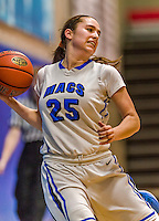 24 November 2015: Yeshiva University Maccabee Forward Rachel Mirsky, a Senior from White Plains, NY, in action against the College of Mount Saint Vincent Dolphins at the Baruch College ARC Arena Gymnasium, in New York, NY. The Dolphins defeated the Maccabees 67-30 in the NCAA Division III Women's Basketball Skyline matchup. Mandatory Credit: Ed Wolfstein Photo *** RAW (NEF) Image File Available ***