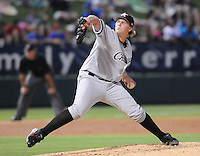 Pitcher Joe Serafin (38) of the Kannapolis Intimidators at the 2010 South Atlantic League All-Star Game on Tuesday, June 22, 2010, at Fluor Field at the West End in Greenville, S.C. Photo by: Tom Priddy/Four Seam Images