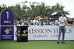 Luis Garcia at the 1st hole during the World Celebrity Pro-Am 2016 Mission Hills China Golf Tournament on 21 October 2016, in Haikou, China. Photo by Weixiang Lim / Power Sport Images