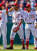 30 April 2017: Washington Nationals outfielder Rafael Bautista celebrates his first major league win against the New York Mets at Nationals Park in Washington, DC. The Nationals defeated the Mets 23-5, with the Nationals setting several individual and team records, in the third game of their weekend series. Mandatory Credit: Ed Wolfstein Photo *** RAW (NEF) Image File Available ***