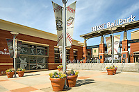 Photography of the exterior of the BB&T Ballpark in Uptown/Downtown Charlotte, North Carolina. he Uptown-area stadium hosts the Charlotte Knights, a Triple-A minor league baseball team in the International League<br /> <br /> Charlotte Photographer -PatrickSchneiderPhoto.com