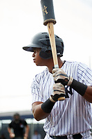 GCL Yankees East first baseman Nelson Alvarez (59) on deck during the first game of a doubleheader against the GCL Yankees West on July 19, 2017 at the Yankees Minor League Complex in Tampa, Florida.  GCL Yankees West defeated the GCL Yankees East 11-2.  (Mike Janes/Four Seam Images)
